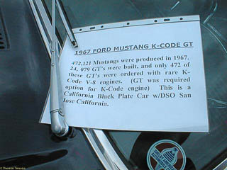 "Sign with history of this ""K code"" Mustang"