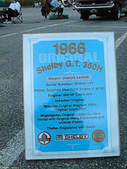 Sign with history of this 1966 Shelby GT350H