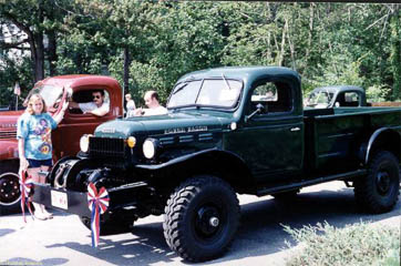 Green Dodge Power Wagon again, at Harvard, MA Fourth of July Parade