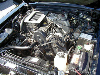 Engine bay of SVO Mustang: look at all that room between the engine and the radiator.